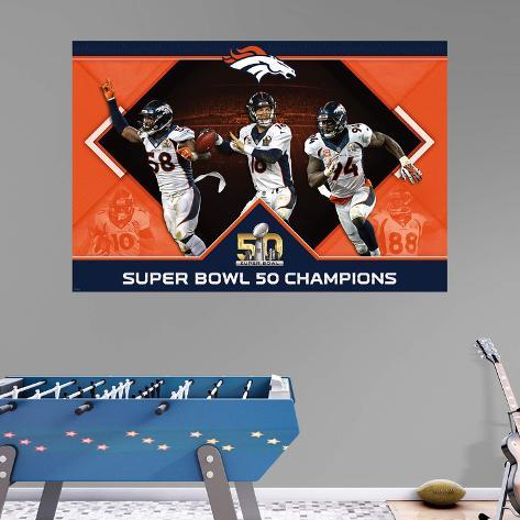 NFL Denver Broncos Super Bowl 50 Champs Montage RealBig Mural Wall Mural 06d60fe4c7040