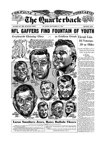 NFL Greats Low Groza, Art Donovan, Chuck Bednarik and More - September 27, 1961 Stretched Canvas Print