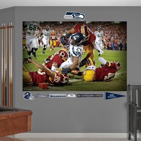 NFL Seattle Seahawks Marshawn Lynch Touch Down Mural Decal Sticker Wall Decal