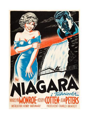 Niagara, L-R: Marilyn Monroe, Joseph Cotten on Danish Poster Art, 1953 Giclee Print