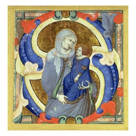 Historiated Initial 's' Depicting St. Anne and the Virgin (Vellum) Stretched Canvas Print