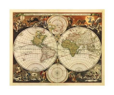 New World Map, 17th Century Giclee Print
