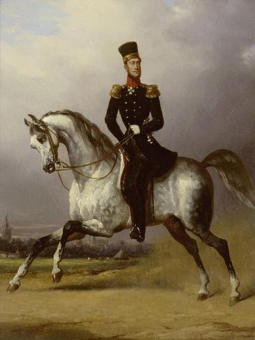Equestrian Portrait of William II, King of the Netherlands Premium Giclee Print