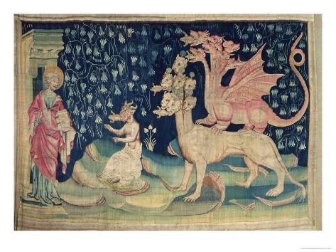 The Dragons Vomiting Frogs, No.62 from The Apocalypse of Angers, 1373-87 Lámina giclée