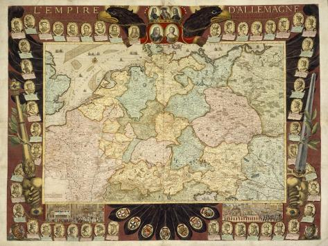 Map of the German Empire with Portraits of the Holy Roman Emperors, Published by Louis-Charles… Giclee Print