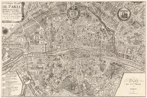 plan de la ville de paris 1715 stretched canvas print by nicolas de fer. Black Bedroom Furniture Sets. Home Design Ideas