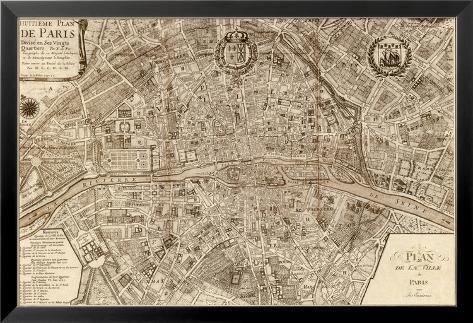 plan de la ville de paris 1715 prints by nicolas de fer. Black Bedroom Furniture Sets. Home Design Ideas