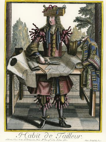 Habit de Tailleur (Fantasy costume of a Men's Tailor with Attributes of His Trade) Stampa giclée