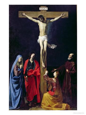 Christ on the Cross with the Virgin, Mary Magdalene, St. John and St. Francis of Paola Lámina giclée