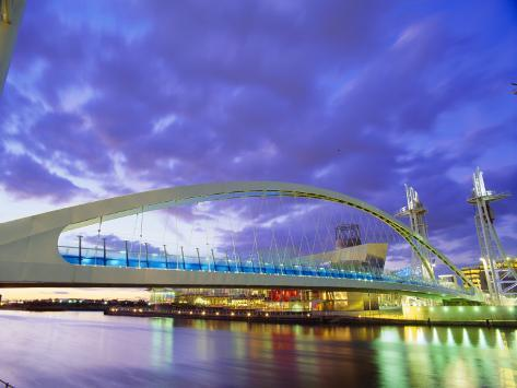 Bridge and Lowry Centre, Manchester, England Photographic Print