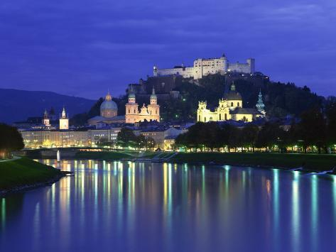 City and Castle at Night from the River, Salzburg, Austria, Europe Photographic Print
