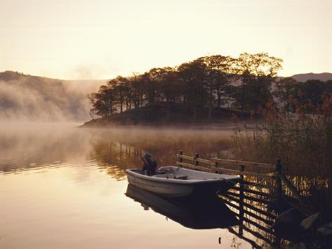 Early Morning Mist and Boat, Derwent Water, Lake District, Cumbria, England Photographic Print