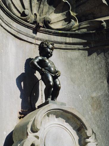 Manneken Pis Statue, Brussels, Belgium Photographic Print