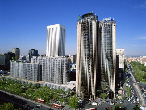 Skyline of the Financial District Including the Europa and Picasso Buildings, in Madrid, Spain Photographic Print