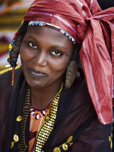 Gao, A Songhay Woman at Gao Market with an Elaborate Coiffure Typical of Her Tribe, Mali Photographic Print