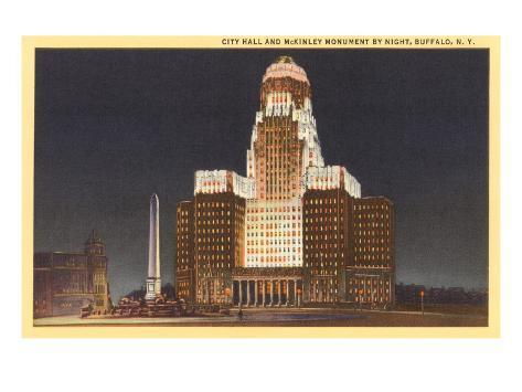 Night, City Hall, Buffalo, New York Art Print