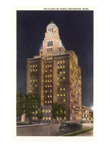 Night, Mayo Clinic, Rochester, Minnesota Art Print