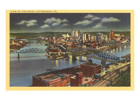 Night over the Point, Pittsburgh, Pennsylvania Art Print