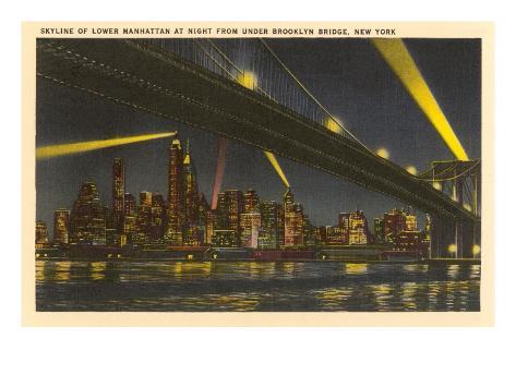 Night, Skyline under Brooklyn Bridge, New York City Art Print