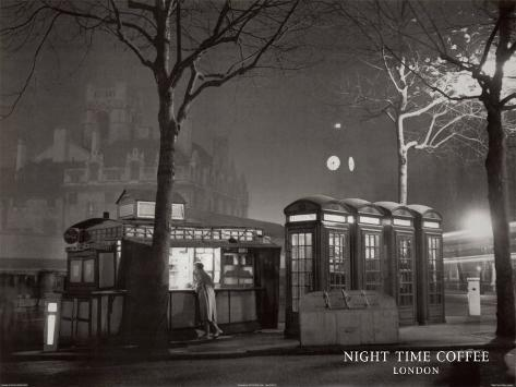 Night Time Coffee, London Art Print