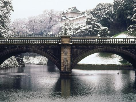 Nijubashi and the Inner Moat of Imperial Palace in Snow, Tokyo, Japan Photographic Print