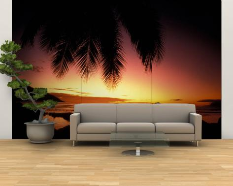 Tropical Sunset on Beauvallon Bay, Seychelles Wall Mural – Large