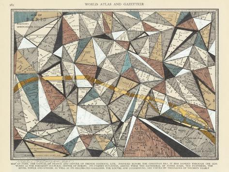 Modern Map Of Paris Posters By Nikki Galapon AllPostersca - Modern map of paris