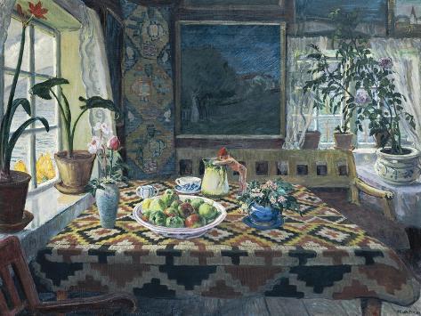 Un interior con un bodegón, el salón en Sandalstrand Lámina giclée