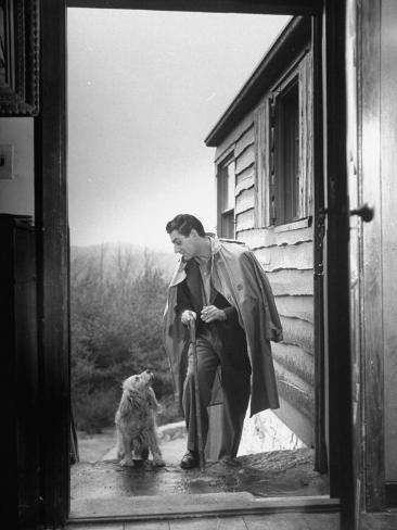 At Home Gian-Carlo Menotti Usually Sports a Cane When He Walks with His Dog Premium Photographic Print