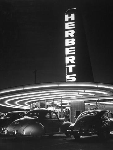 Cars Sitting Outside of a Drive-In Restaurant Photographic Print