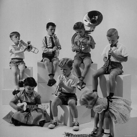 Children Playing Various Musical Instruments Photographic Print