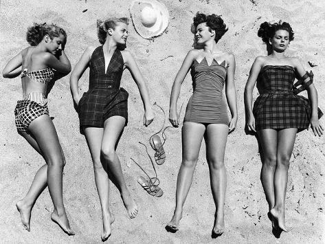 Models Sunbathing, Wearing Latest Beach Fashions Photographic Print