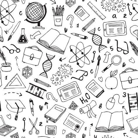 Vector Hand Drawn Seamless Pattern with Education Items Art Print