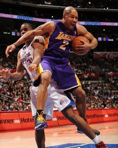 Los Angeles Lakers v Los Angeles Clippers: Derek Fisher and Jarron Collins Photo