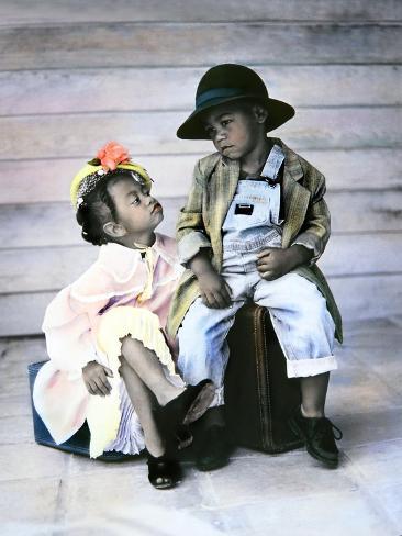 Boy and Girl Sitting on Luggage Giclee Print