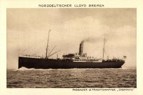 Norddeutscher Lloyd Bremen, Dampfer Chemnitz Giclee Print