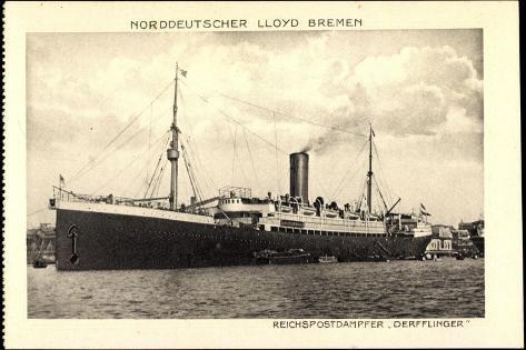 Norddeutscher Lloyd Bremen, Dampfer Derfflinger Giclee Print