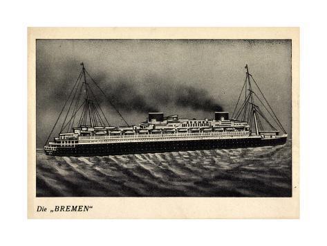 Norddeutscher Lloyd Bremen, Model Der Bremen, Dampfer Stampa giclée
