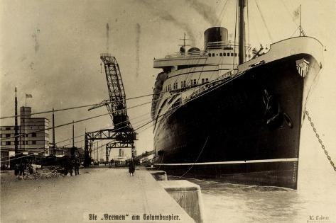 Norddeutscher Lloyd, Dampfer Bremen, Columbuspier Giclee Print