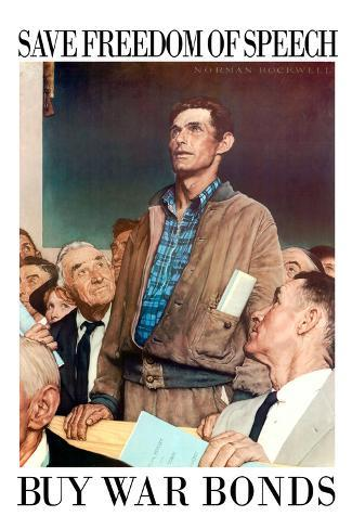 Norman Rockwell Save Freedom of Speech WWII War Propaganda Art Print