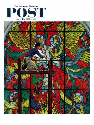 Norman Rockwell Artist Print STAINED GLASS