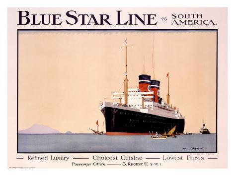 Blue Star Line Giclee Print