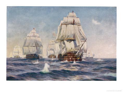 Nelson's Flagship at the Battle of Trafalgar 21 October 1805 Giclee Print