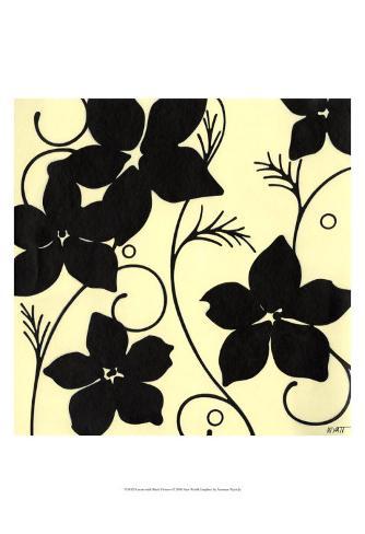 Cream with Black Flowers Art Print
