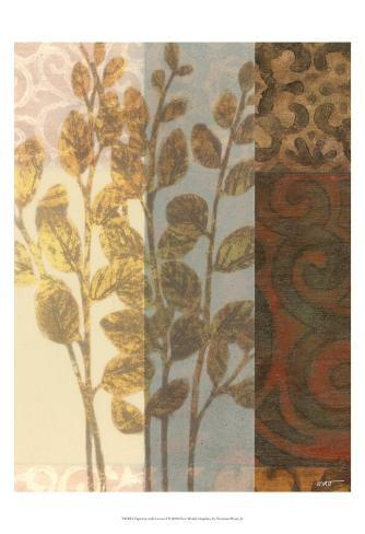Tapestry with Leaves I Art Print