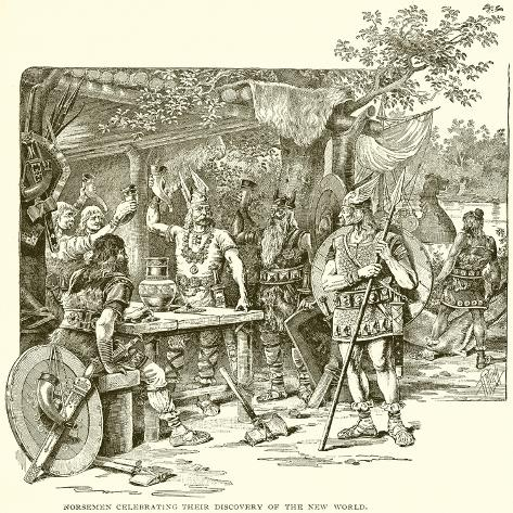 Norsemen Celebrating their Discovery of the New World Stampa giclée