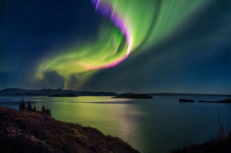 Northern Lights over Thingvallavatn or Lake Thingvellir. Thingvellir National Park. Iceland Lámina fotográfica