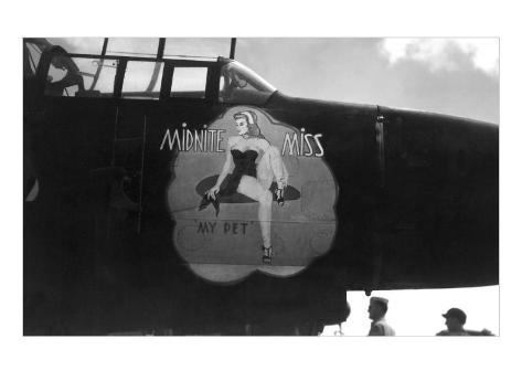 Nose Art, Midnite Miss, Pin-Up Art Print