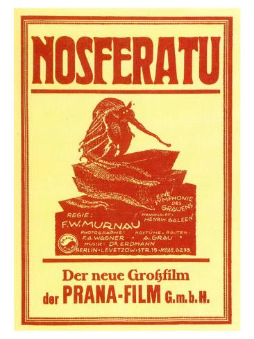 Nosferatu, a Symphony of Horror, German Movie Poster, 1922 Art Print