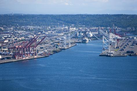 View from Space Needle to Dock Area, Seattle Photographic Print